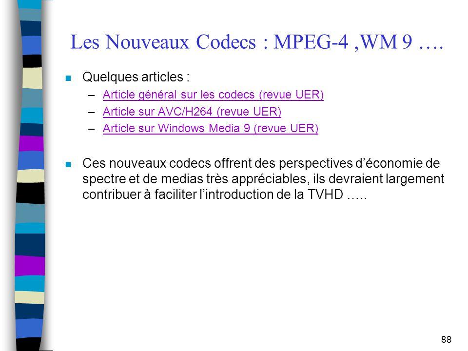 Les Nouveaux Codecs : MPEG-4 ,WM 9 ….