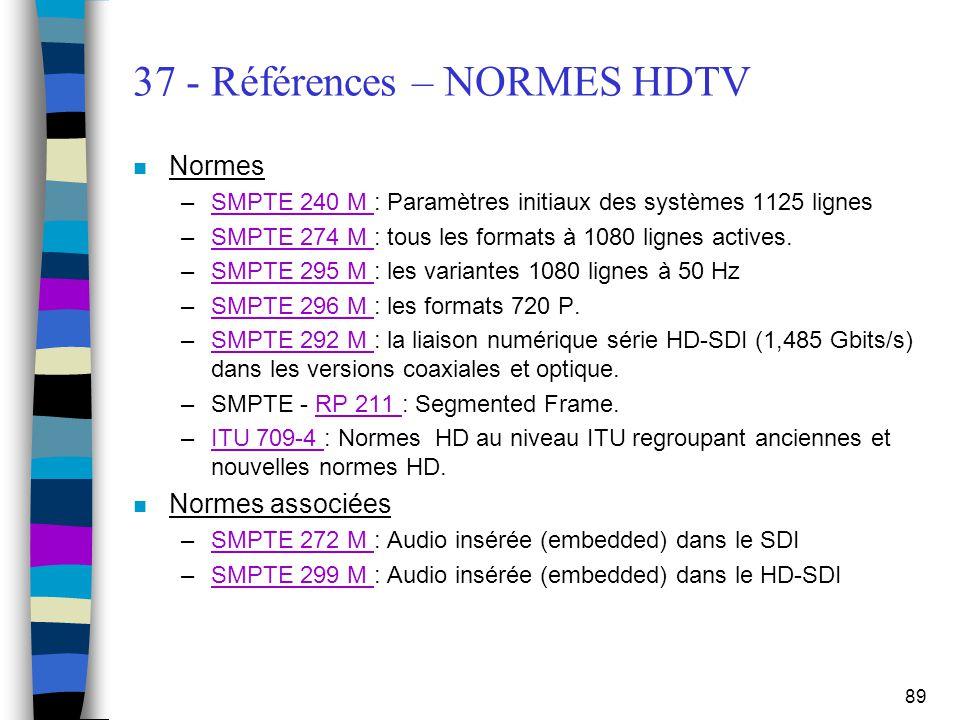 37 - Références – NORMES HDTV