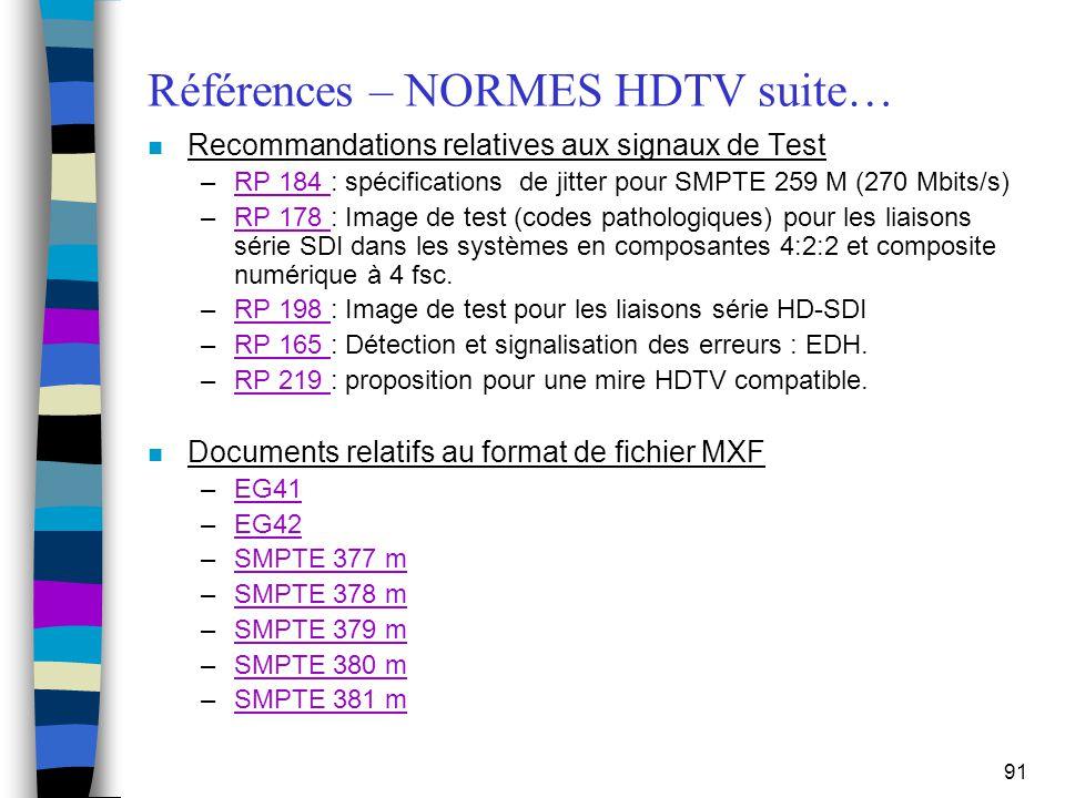 Références – NORMES HDTV suite…