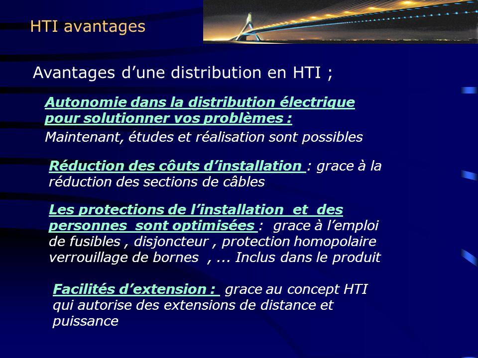 Avantages d'une distribution en HTI ;