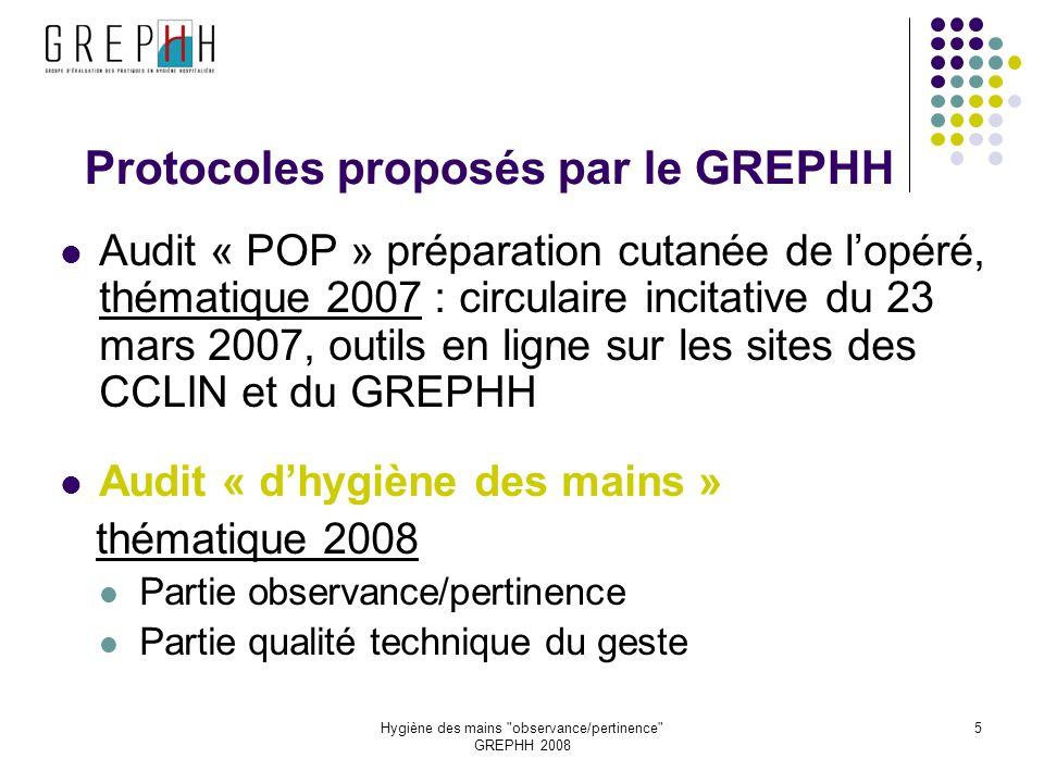 Protocoles proposés par le GREPHH