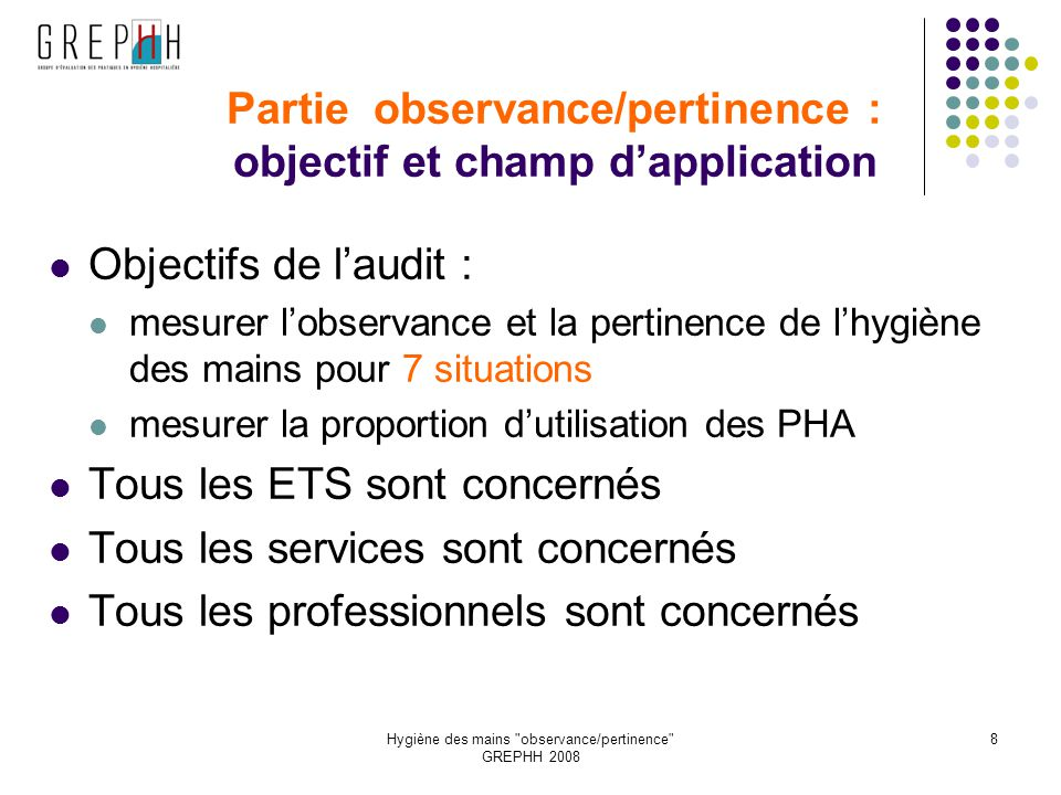 Partie observance/pertinence : objectif et champ d'application