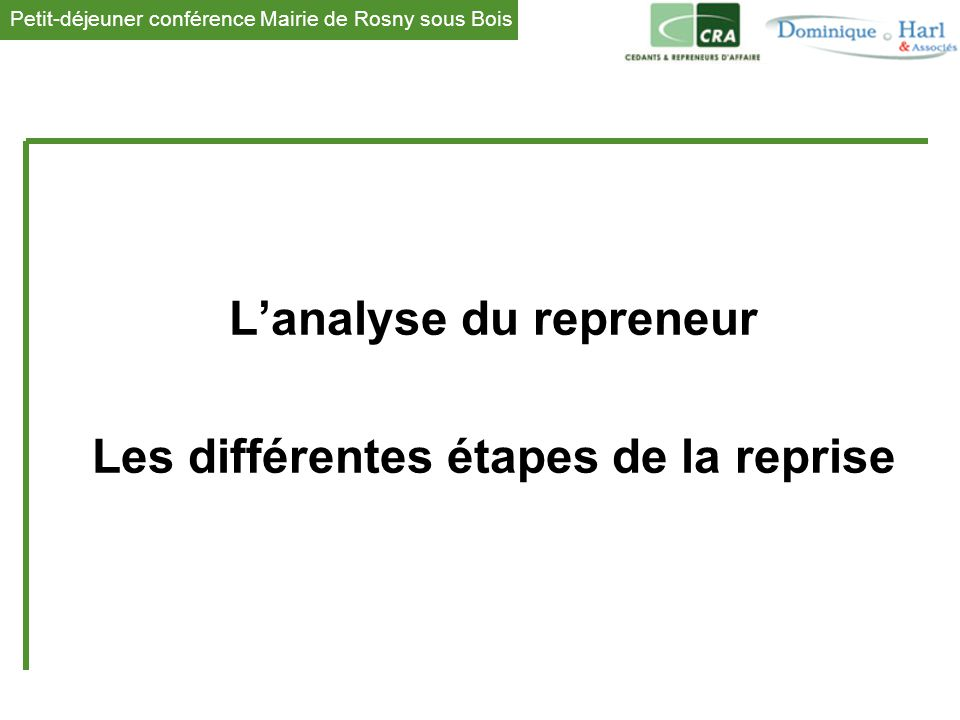 L'analyse du repreneur