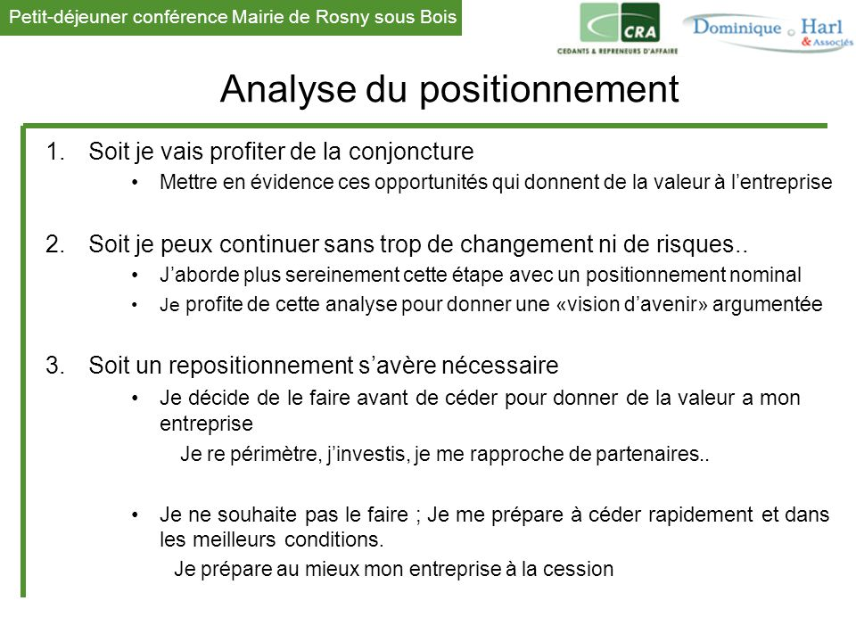 Analyse du positionnement