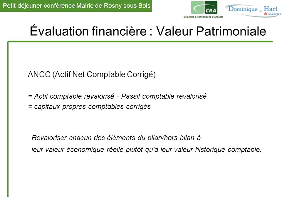Évaluation financière : Valeur Patrimoniale