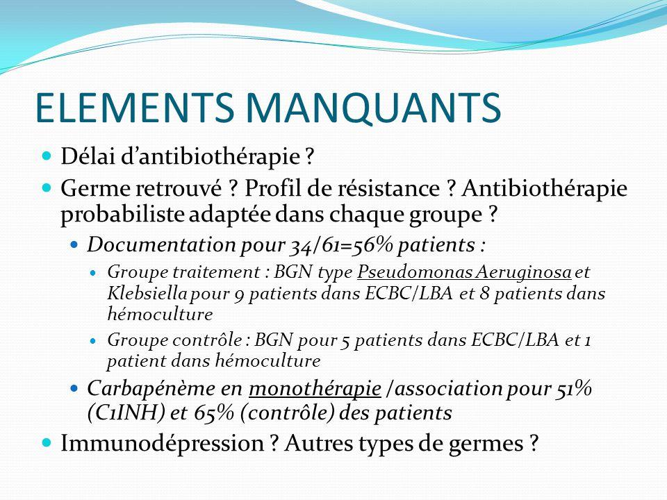 ELEMENTS MANQUANTS Délai d'antibiothérapie