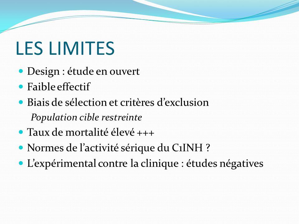 LES LIMITES Design : étude en ouvert Faible effectif