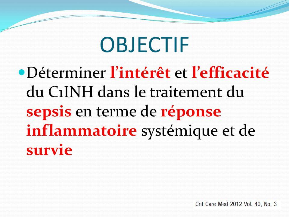 OBJECTIF Déterminer l'intérêt et l'efficacité du C1INH dans le traitement du sepsis en terme de réponse inflammatoire systémique et de survie.