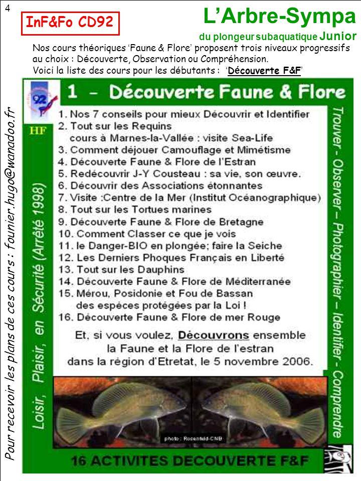 InF&Fo CD92 Nos cours théoriques 'Faune & Flore' proposent trois niveaux progressifs. au choix : Découverte, Observation ou Compréhension.