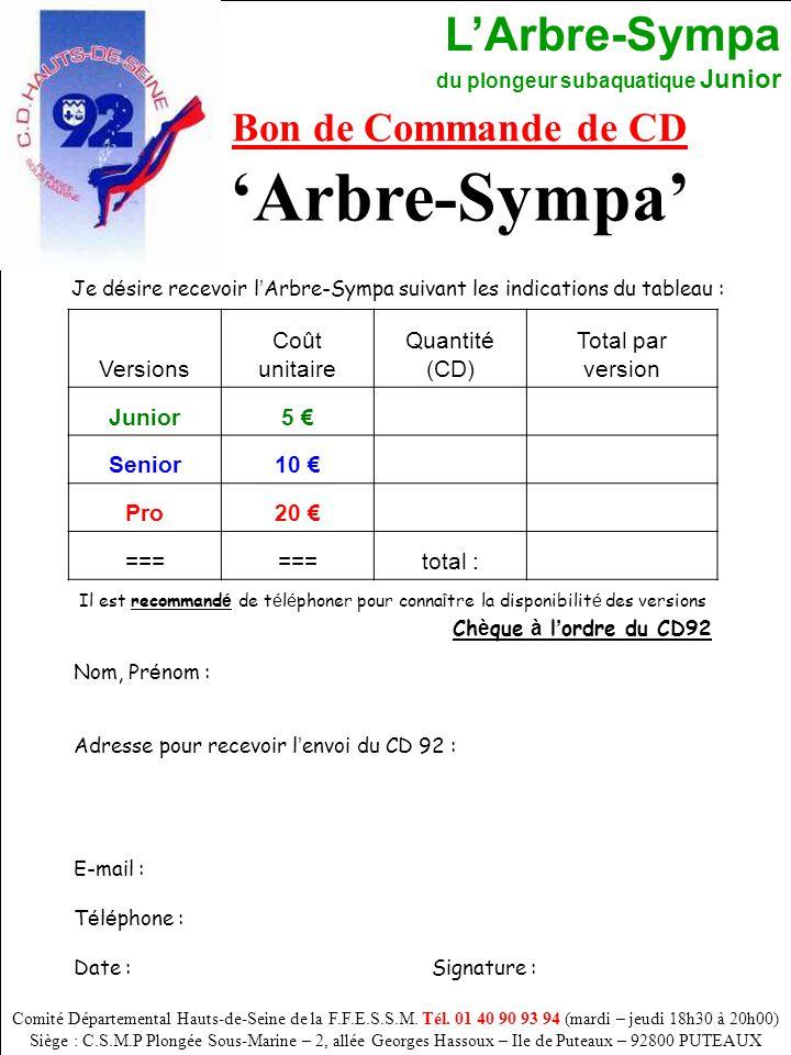 'Arbre-Sympa' Bon de Commande de CD Versions Coût unitaire