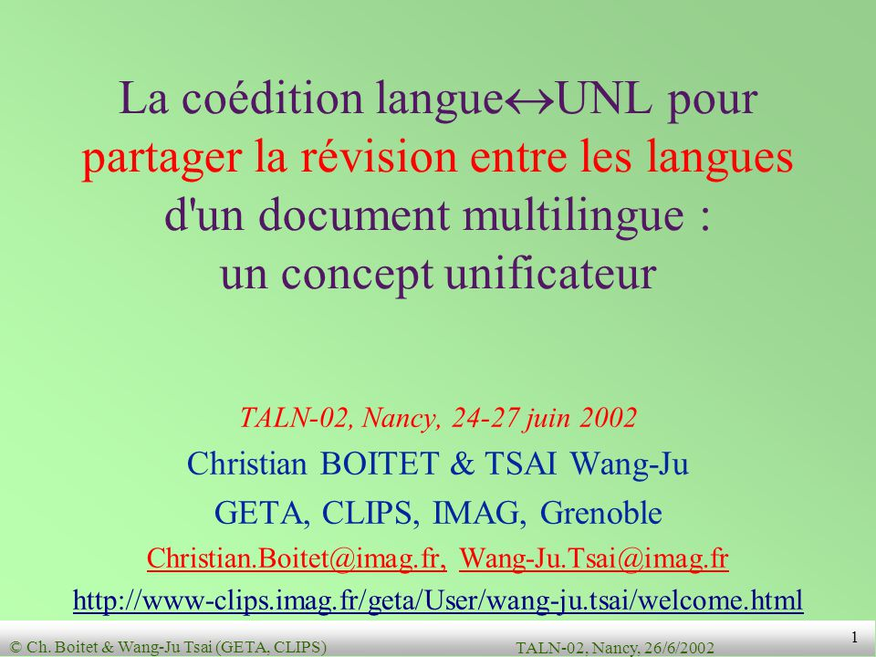La coédition langueUNL pour partager la révision entre les langues d un document multilingue : un concept unificateur