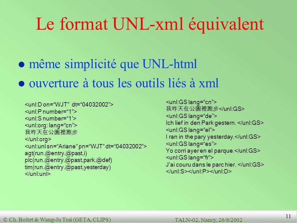Le format UNL-xml équivalent
