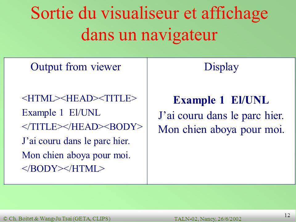 Sortie du visualiseur et affichage dans un navigateur