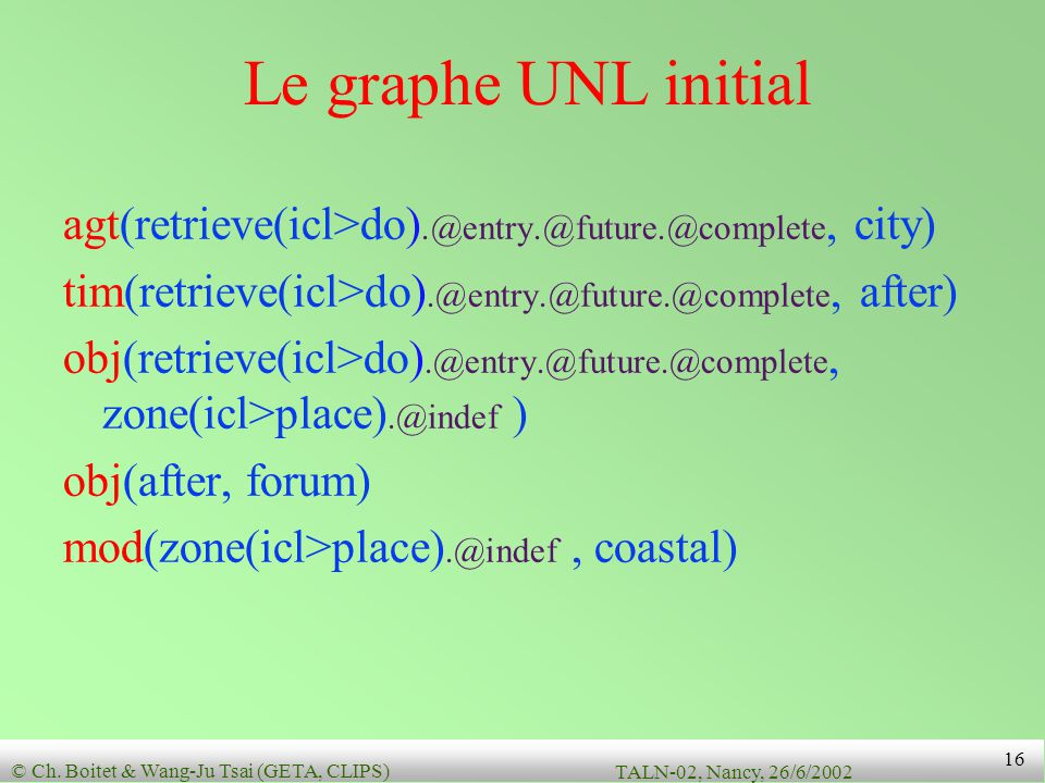 Le graphe UNL initial agt(retrieve(icl>do).@entry.@future.@complete, city) tim(retrieve(icl>do).@entry.@future.@complete, after)