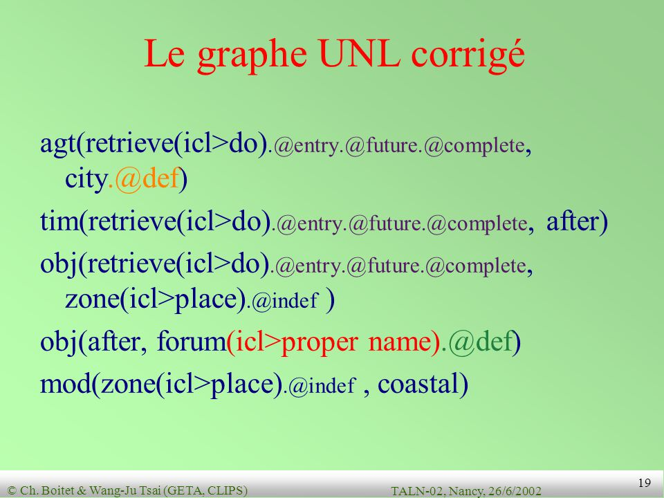 Le graphe UNL corrigé agt(retrieve(icl>do).@entry.@future.@complete, city.@def) tim(retrieve(icl>do).@entry.@future.@complete, after)