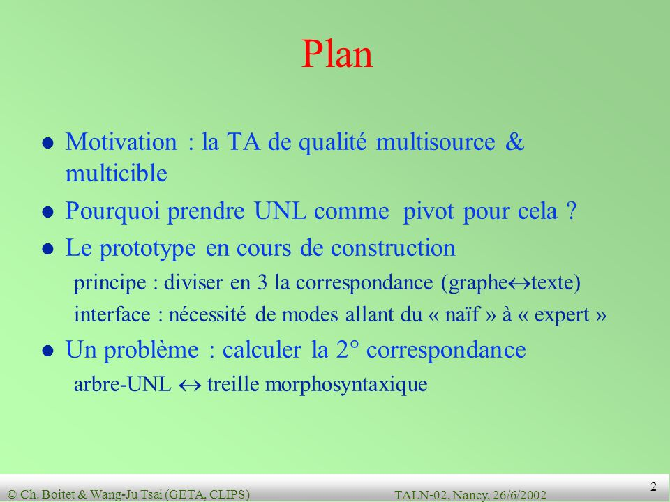 Plan Motivation : la TA de qualité multisource & multicible