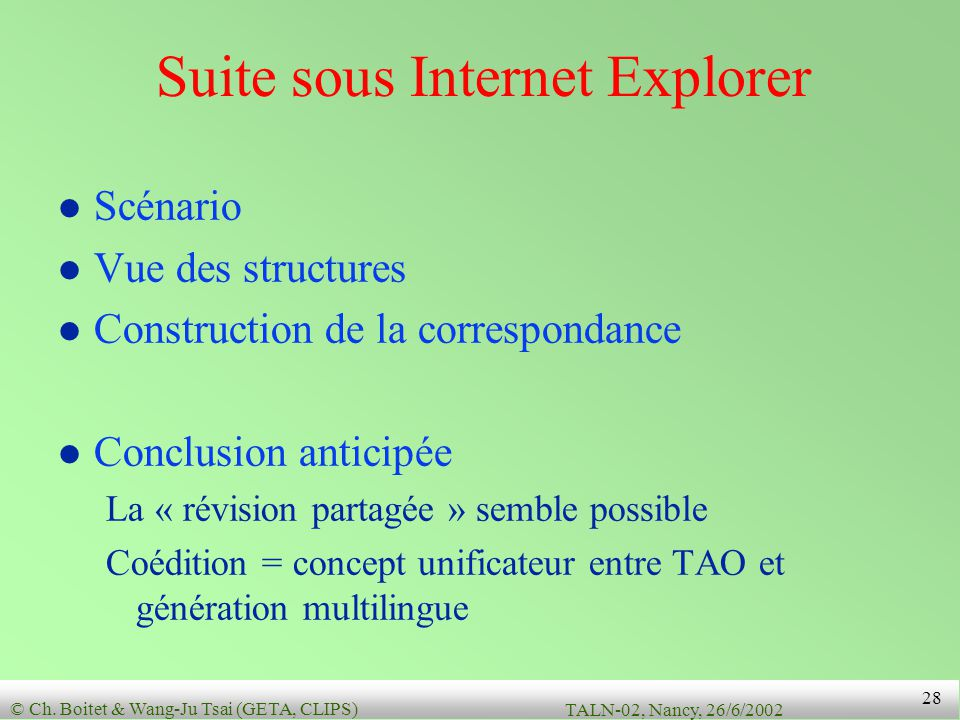 Suite sous Internet Explorer