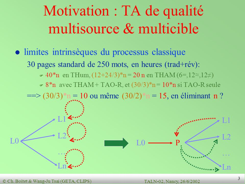 Motivation : TA de qualité multisource & multicible