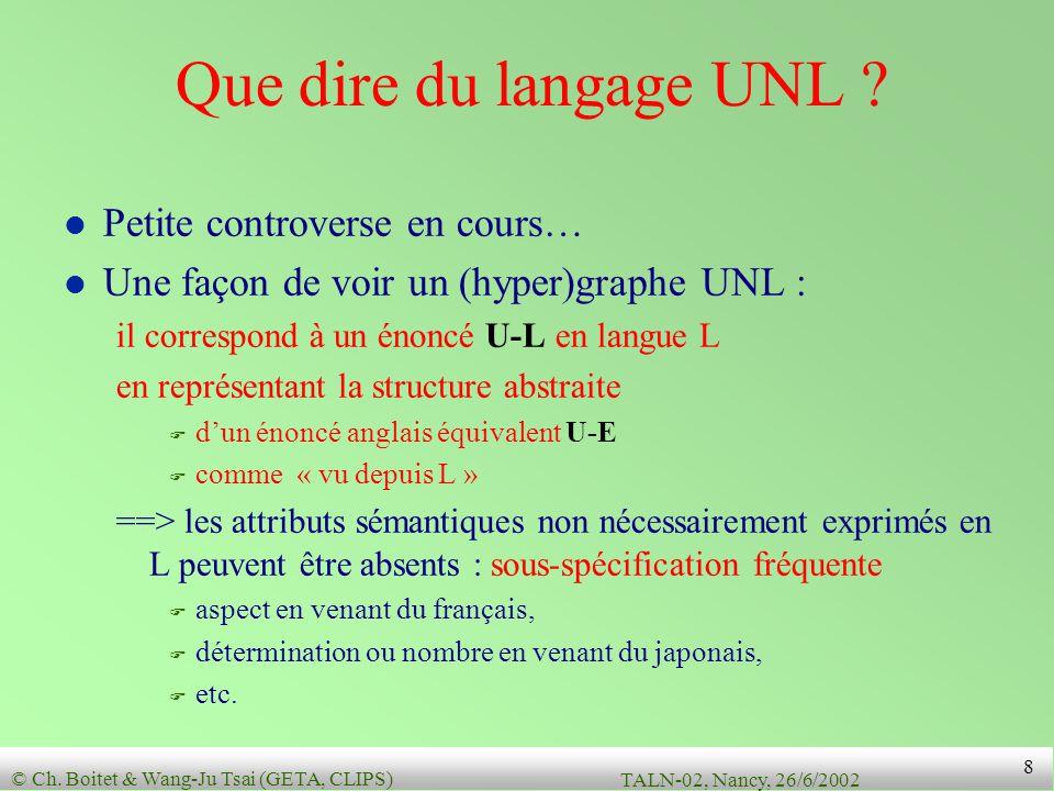 Que dire du langage UNL Petite controverse en cours…