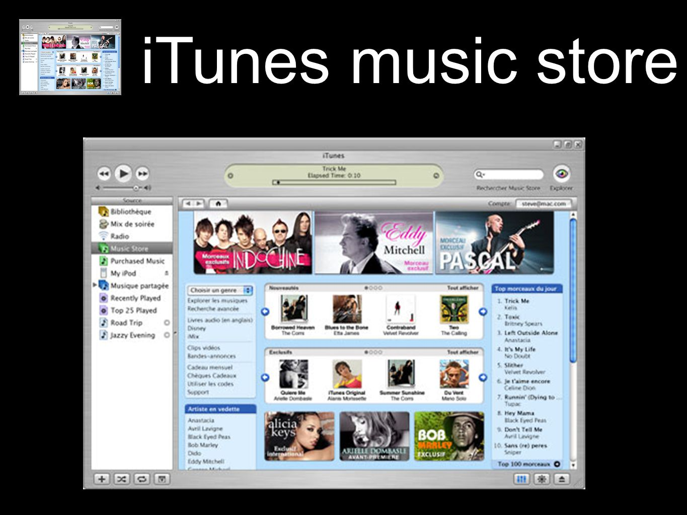 iTunes music store In Sync with iTunes.