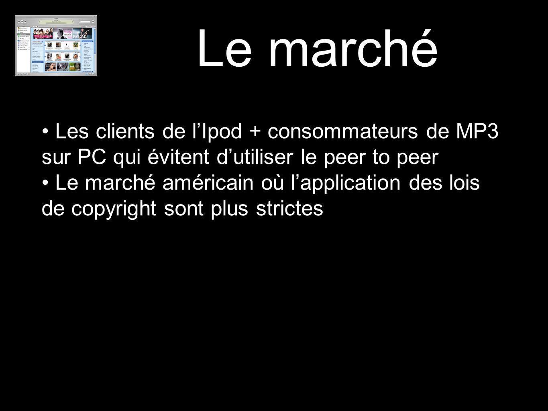 Le marché Les clients de l'Ipod + consommateurs de MP3 sur PC qui évitent d'utiliser le peer to peer.