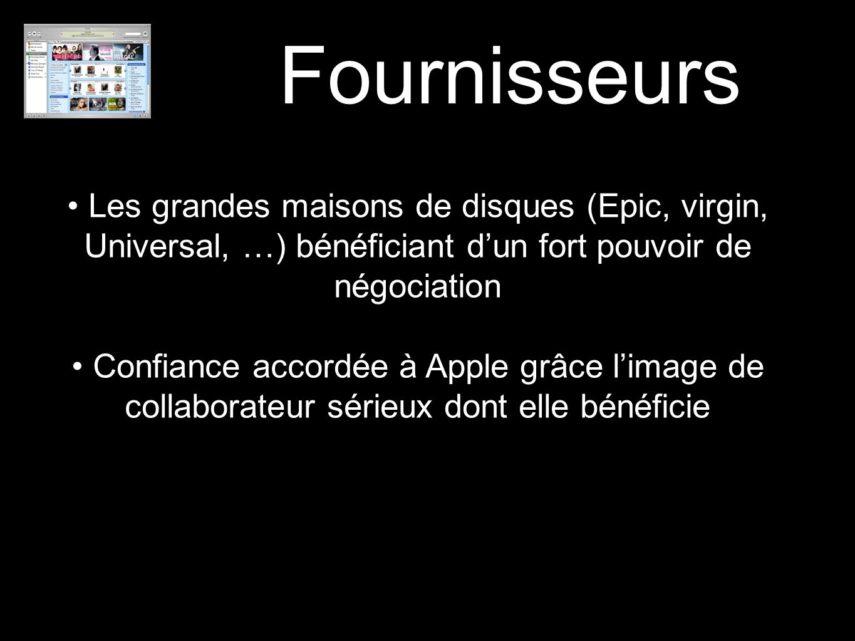 Fournisseurs Les grandes maisons de disques (Epic, virgin, Universal, …) bénéficiant d'un fort pouvoir de négociation.