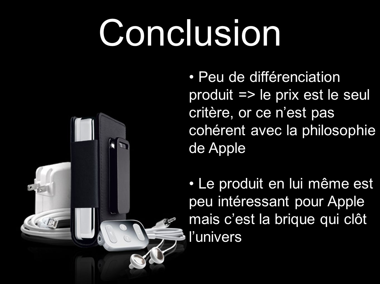 Conclusion Peu de différenciation produit => le prix est le seul critère, or ce n'est pas cohérent avec la philosophie de Apple.