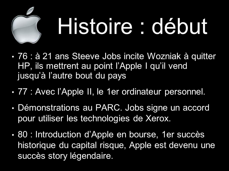 Histoire : début 76 : à 21 ans Steeve Jobs incite Wozniak à quitter HP, ils mettrent au point l'Apple I qu'il vend jusqu'à l'autre bout du pays.