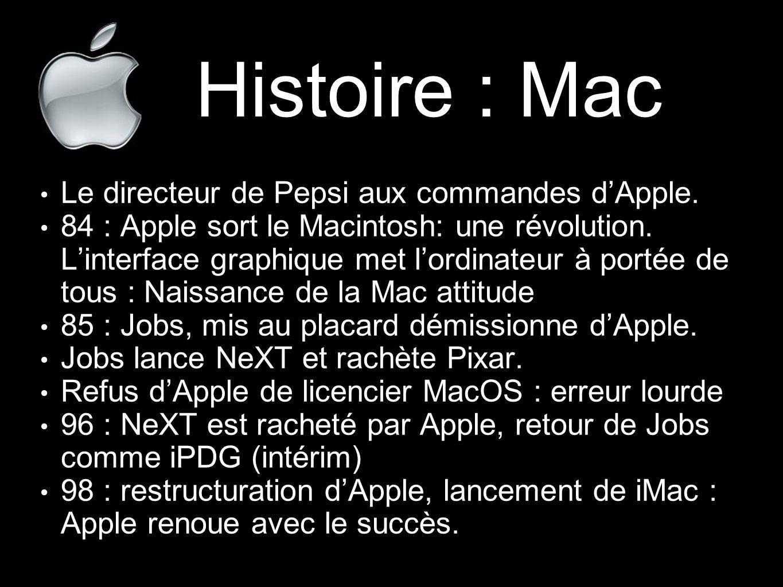 Histoire : Mac Le directeur de Pepsi aux commandes d'Apple.