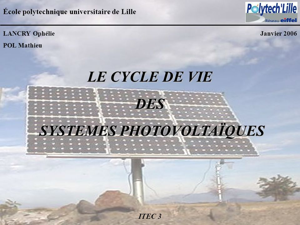 SYSTEMES PHOTOVOLTAÏQUES