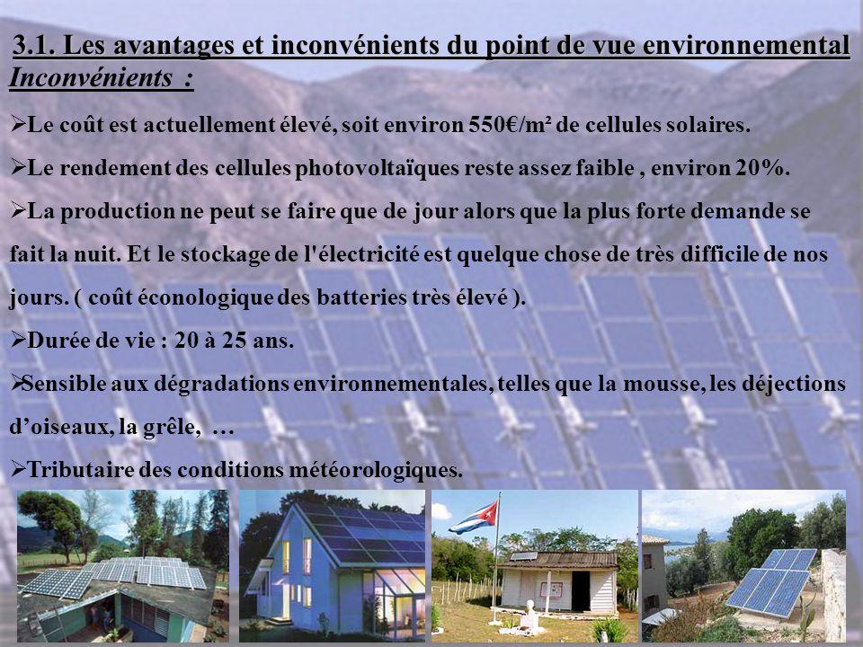 3.1. Les avantages et inconvénients du point de vue environnemental