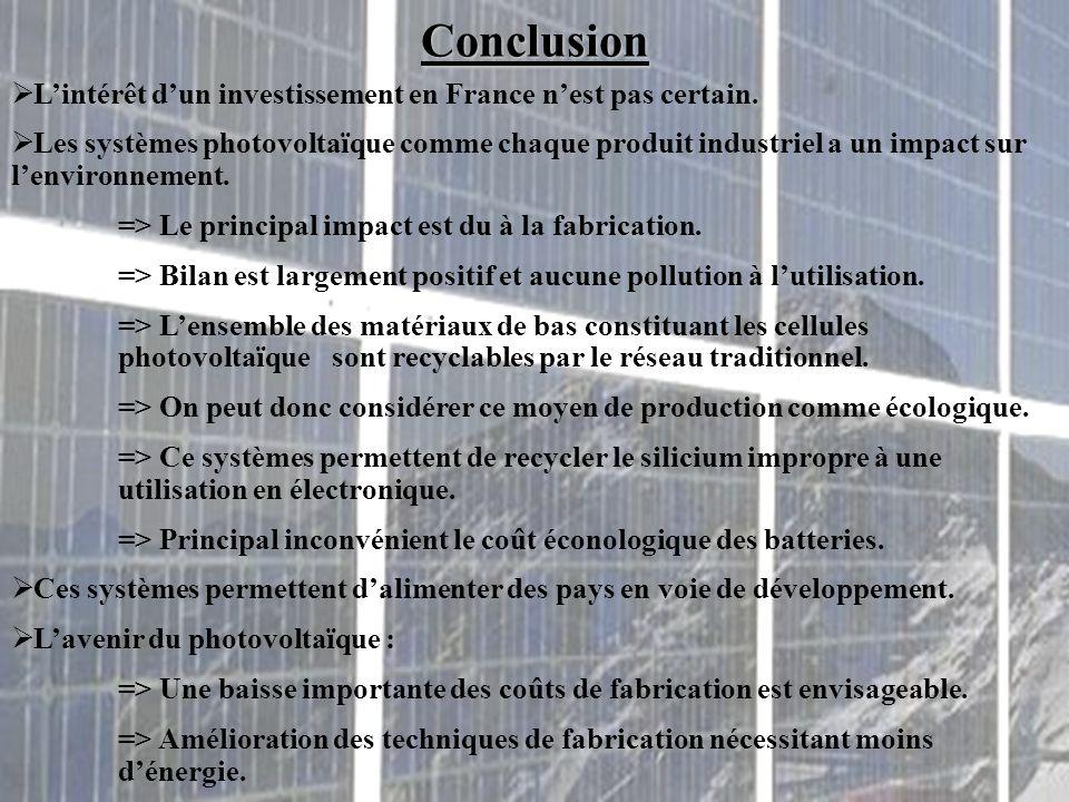 Conclusion L'intérêt d'un investissement en France n'est pas certain.