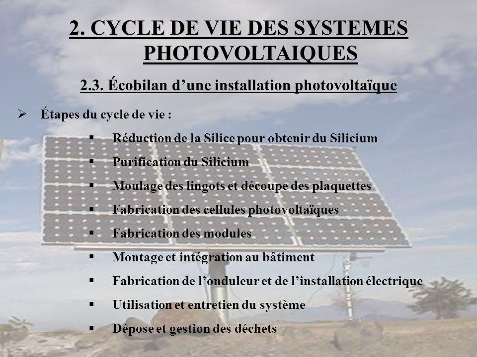 2. CYCLE DE VIE DES SYSTEMES PHOTOVOLTAIQUES