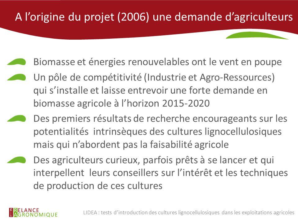 A l'origine du projet (2006) une demande d'agriculteurs