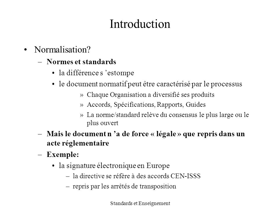 Standards et Enseignement