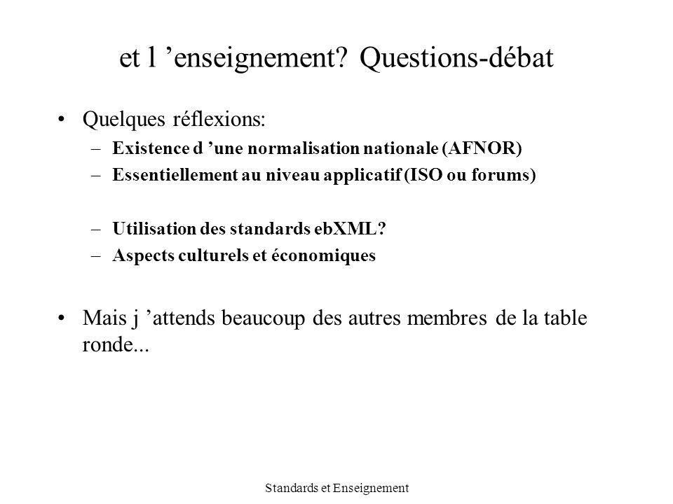 et l 'enseignement Questions-débat