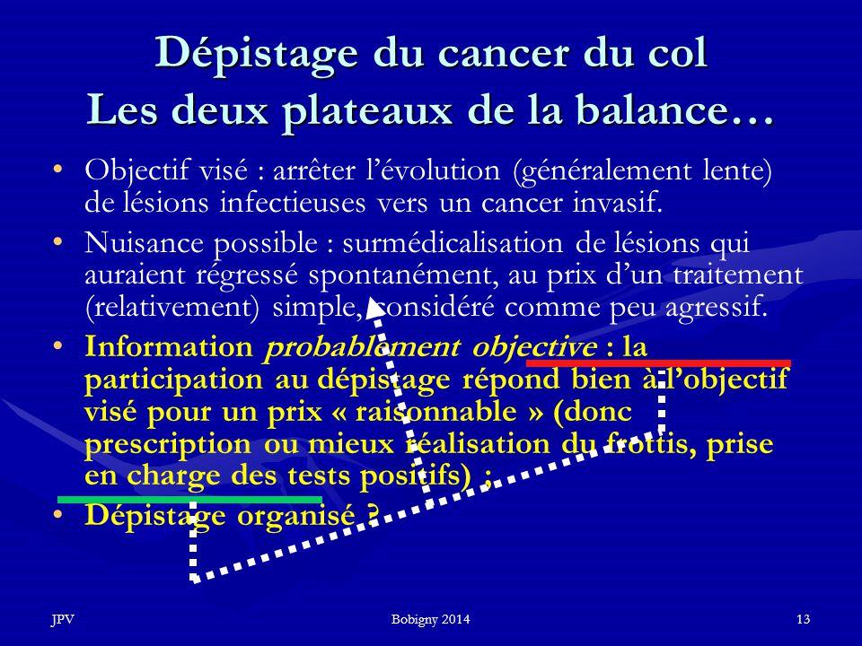 Dépistage du cancer du col Les deux plateaux de la balance…