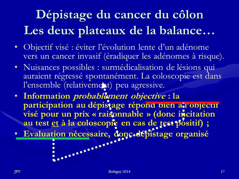 Dépistage du cancer du côlon Les deux plateaux de la balance…