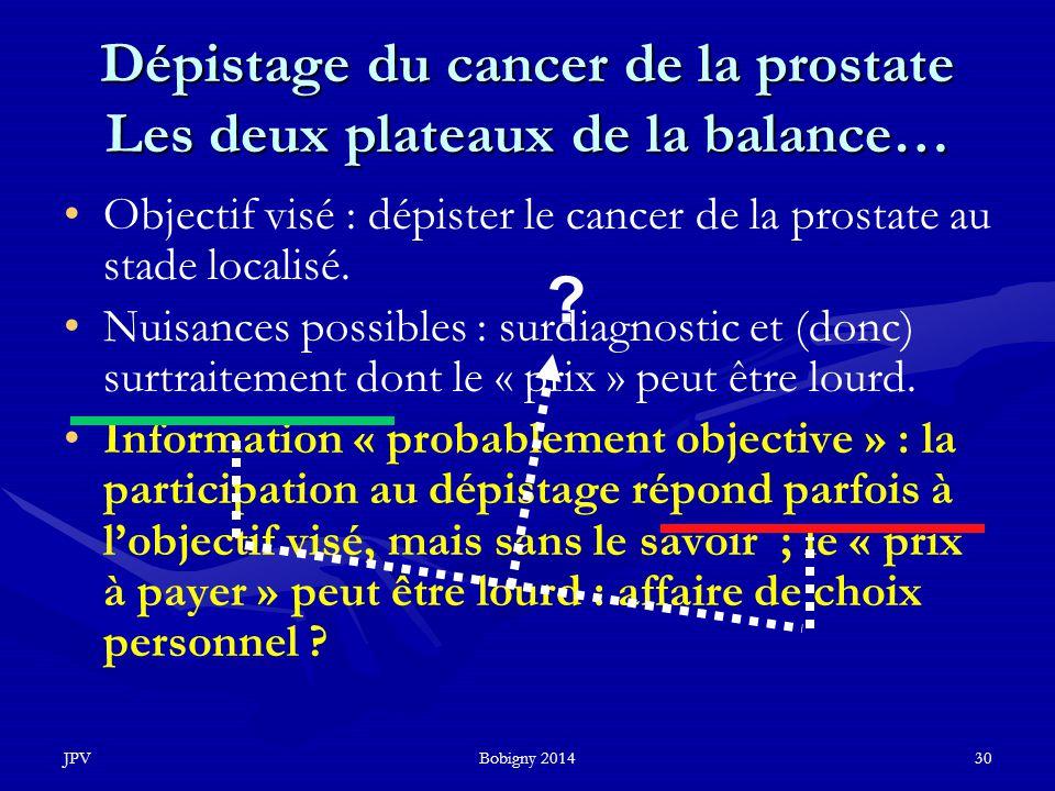 Dépistage du cancer de la prostate Les deux plateaux de la balance…