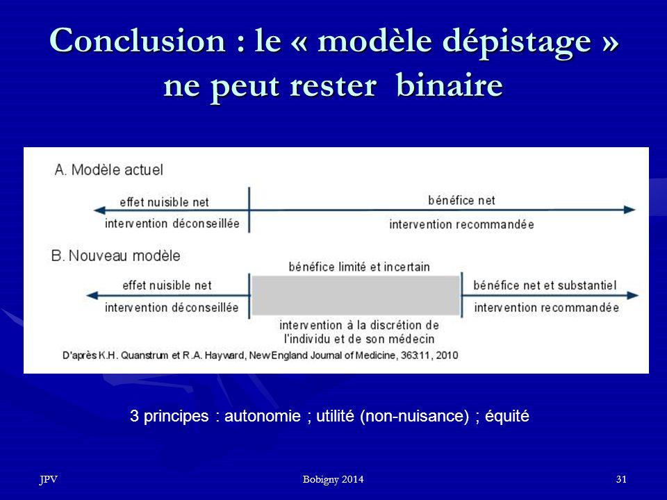 Conclusion : le « modèle dépistage » ne peut rester binaire