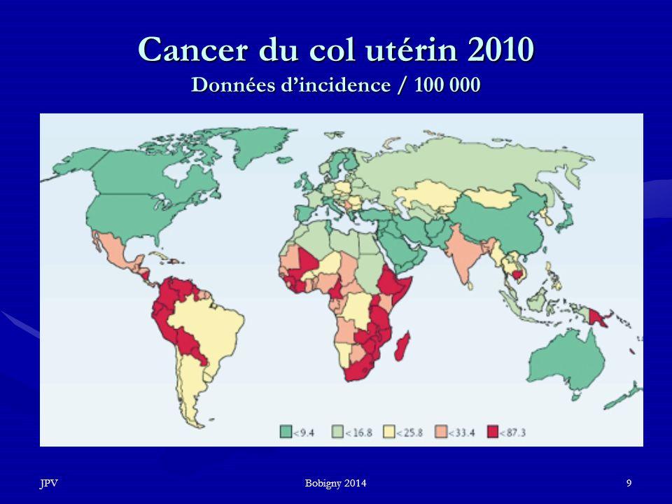 Cancer du col utérin 2010 Données d'incidence / 100 000