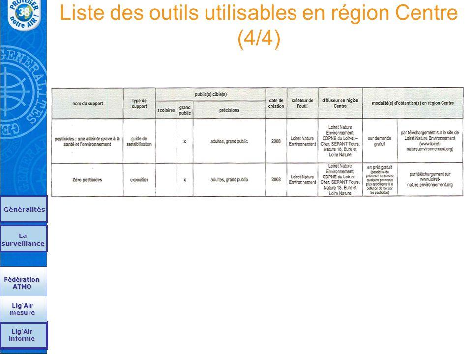 Liste des outils utilisables en région Centre (4/4)