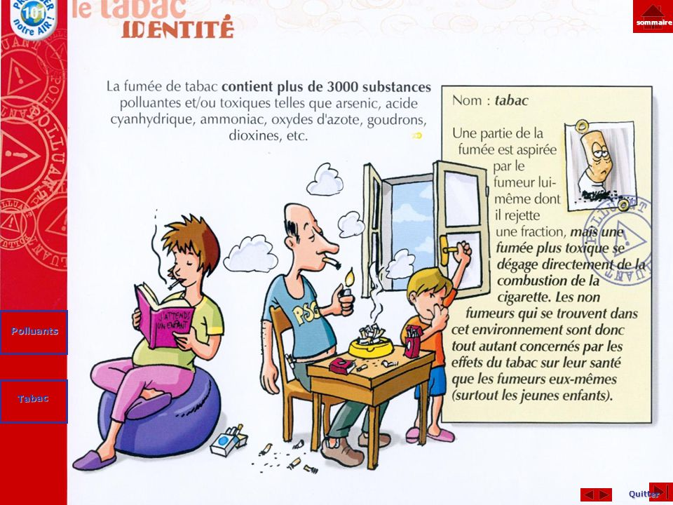 sommaire Polluants Tabac Quitter