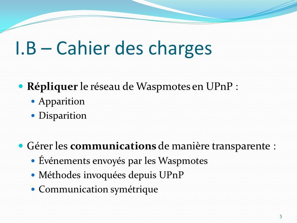 I.B – Cahier des charges Répliquer le réseau de Waspmotes en UPnP :