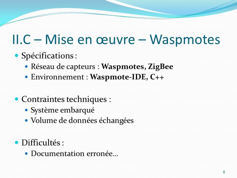 II.C – Mise en œuvre – Waspmotes