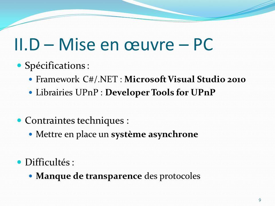 II.D – Mise en œuvre – PC Spécifications : Contraintes techniques :