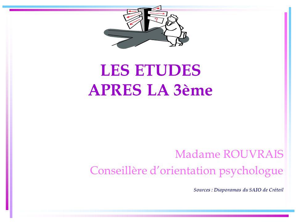 LES ETUDES APRES LA 3ème Madame ROUVRAIS