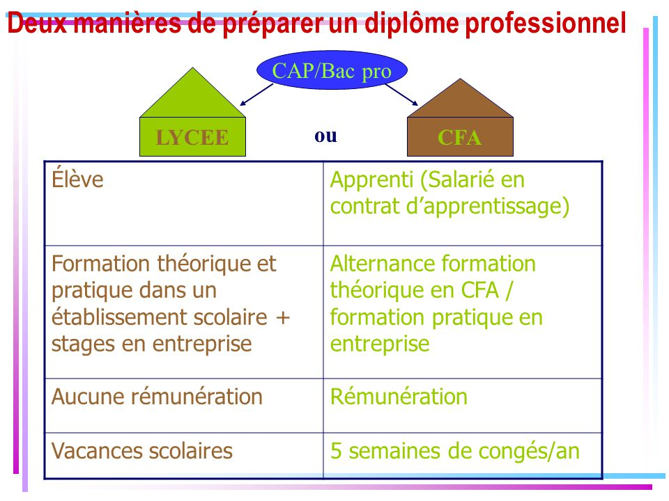 Deux manières de préparer un diplôme professionnel