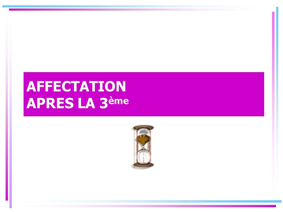 AFFECTATION APRES LA 3ème