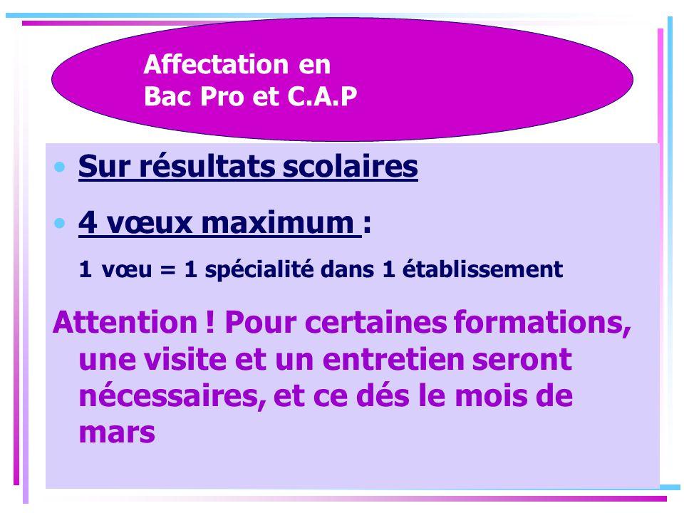 Affectation en Bac Pro et C.A.P
